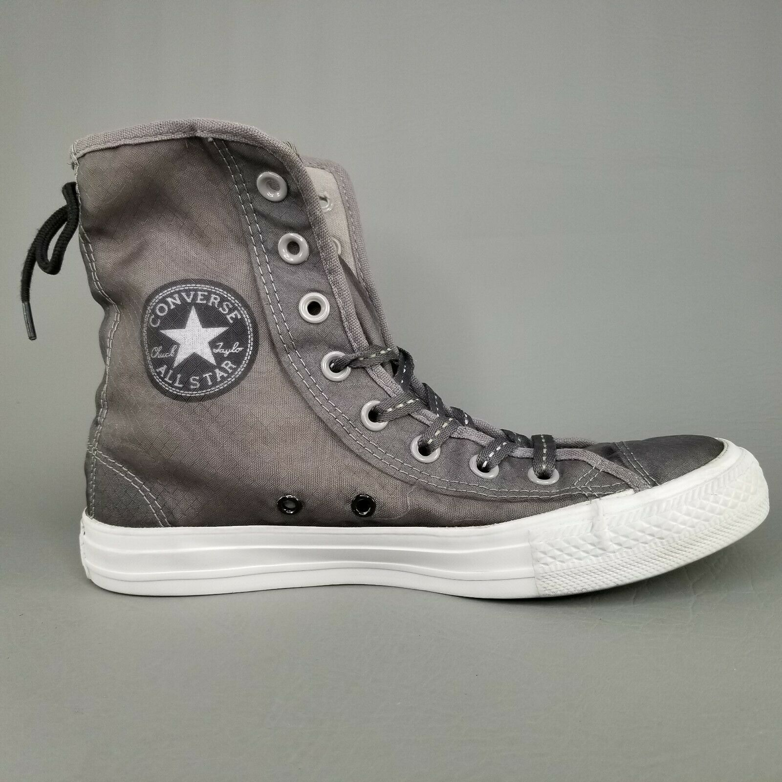 Converse CTAS Back Lace Hi Top Shoes Womens SZ 8 See Through Chucks Gray White image 6