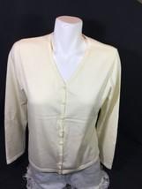 Eddie Bauer Women Cream White Blouse V-neck  Button Up Slim Fit Size M Bin12#43 - $13.10