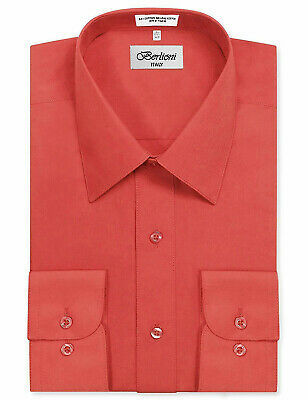Berlioni Italy Men's Long Sleeve Solid Regular Fit Coral Dress Shirt - XL