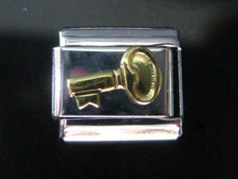 Key GoldPlated generic Italian Charm - fits Nomination Classic size Bracelets - $6.57
