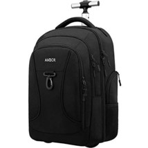 Rolling Backpack,Wheeled Laptop Backpack for Travel,Freewheel Carryon Trolley Lu