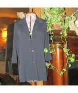 Women's JACKET blk 3/4 length sleeve button front no pocket (clst 22) - $9.50
