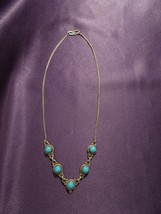 Southwestern Turquoise Linked Charm Chain Necklace - $29.70