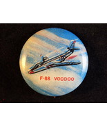 PIN BACK BUTTON Vintage USAF F-88 VOODOO McDONNELL Twin Engine FIGHTER JET - $12.86