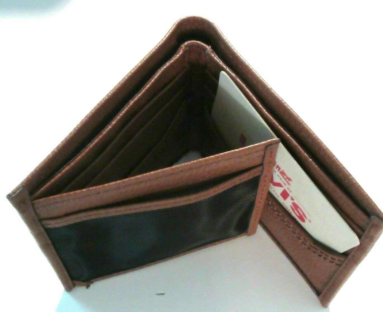 Levi's Mens Genuine Leather Slim Bifold Wallet Brown RFID NWT Ships Free  image 3