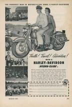 1952 Harley Davidson Motorcycle Ad Hydra Glide Thrills! Travel! Adventur... - $15.00