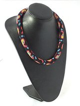Bead crochet rope necklace, paisley print necklace, beaded seed beads ne... - $45.00