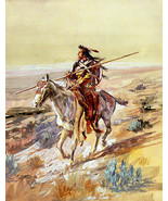Indian With A Spear by Charles Russell Native American Indian Western Ar... - $147.51