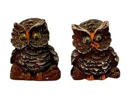 Vintage Googly Eyed Resin Miniature Owl Figurine Retro Owls Owl Decor (L... - $9.99