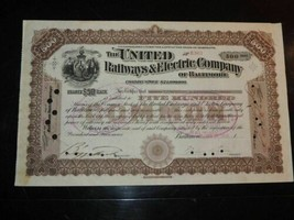 1900 United Railways& Electric Company of Baltimore Stock Certificate 50... - $9.49