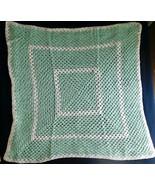 """AFGHAN Blanket BABY SOFT Handmade Crochet Pastel Green & White 33"""" x 33""""... - $34.49"""