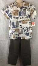 NEW Womens Patches Floral  W/ Grey Scrubs Set SZ S-M Medical  Nurses Uni... - $15.79