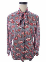 Vintage Gray and Red Flower Print Button Down Kitten Bow Blouse Graff Ca... - $18.00