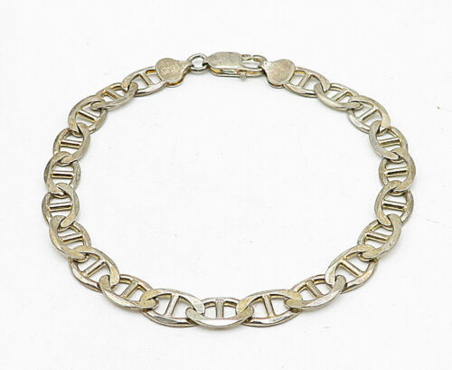 925 Sterling Silver - Vintage Shiny Anchor Link Style Chain Bracelet - B5648