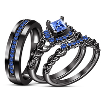 Princess Cut Blue Sapphire  Black GP 925 Silver His & Her Trio Wedding Ring Set - $167.55