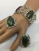 Bracelet & Earring Set Sarah Coventry Chunkey Colorful Cabochon Stones Silver  - $19.79