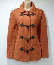 Women's Vintage GAP Hip Length Orange Wool Tweed Duffle Coat Jacket Size XL UK18 - $69.32