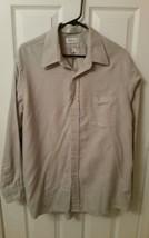Van Heusen Mens Long Sleeve Green Striped Dress Shirt Men's 17-34/35 - $10.93