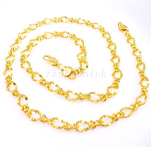 Women Gift Shining Sparkle Chain Necklace 49cm 24K Yellow Gold Plated UK - $18.81