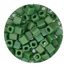 Square Glass Beads Japan 4mm Miyuki Cube Matte Light Green Ab - $6.94