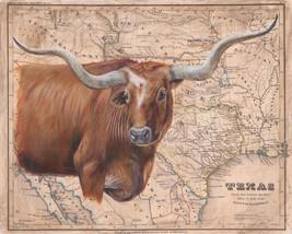 Brown Longhorn Map by Patty Pendergast Longhorn Steer  Wildlife Canvas 32x40 - $395.01