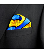 Men's Pocket Square Handkerchief Wedding Fashion Dress Greek Key Silk Bl... - $19.75