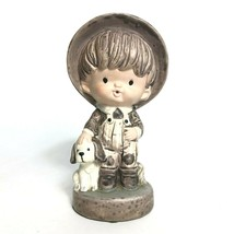 Vintage Boy and His Dog Figurine - Hat and Overalls - Japan 1950s - $22.51