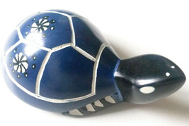 Turtle - Soapstone Hand Carved and Hand Painted - Dark Blue with Flower ... - £10.93 GBP