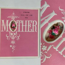Vintage 3d cut out Happy Mother's Day Greeting Card Flowers pink - $4.95