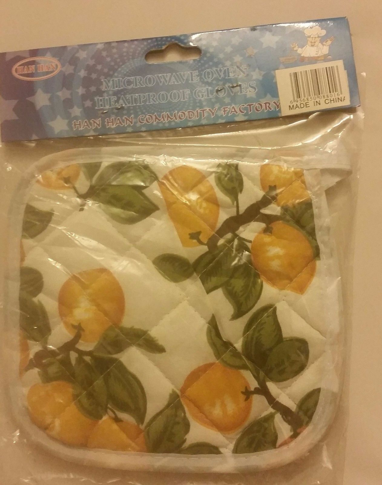 "1 pc Rare Printed Kitchen Pot Holder, Heatproof glove, (7""x 7"") , ORANGES, # 1"