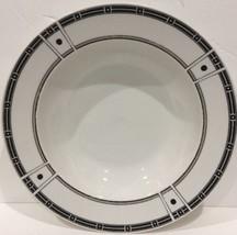 "Sango DOMINO GRAY Rim Soup Bowls 8 5/8"" (Geometric) # 8813 Oven Safe - $11.87"