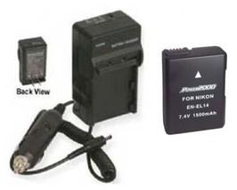 EN-EL14 Battery + Charger for Nikon Coolpix D3100 D3200 D5100 D5200 P7000 P7100 - $39.55