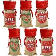 Christmas Wine Bottle Bag Covers, Pack of 6 Holiday Burlap Drawstring Pouch - $39.67