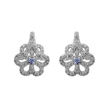 3 MM Round Tanzanite Studded 925 Sterling Silver Women Flower Designer E... - $21.35