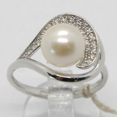 18K WHITE GOLD BAND PEARL ZIRCONIA RING ONDULATE, WAVE, SPIRAL, MADE IN ITALY
