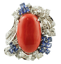 Coral, Diamonds, Blue Sapphires, 14k White Gold Cocktail Ring - $4,081.00