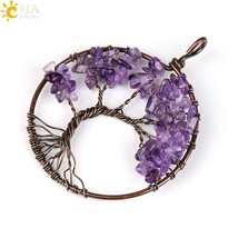 CSJA Tree of Life Necklace Pendant Natural Stone Chip Bead Handmade Wire... - $9.28
