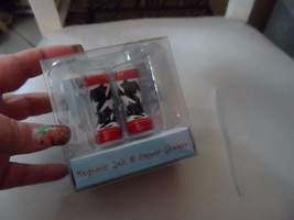 Red, white and Black winter boot  shaped Magnetic Salt & Pepper Shakers - $7.50