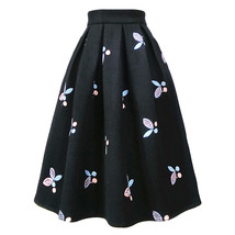 Women Black Winter Wool Pleated Skirt High Waisted Midi Pleated Skirt Plus Size
