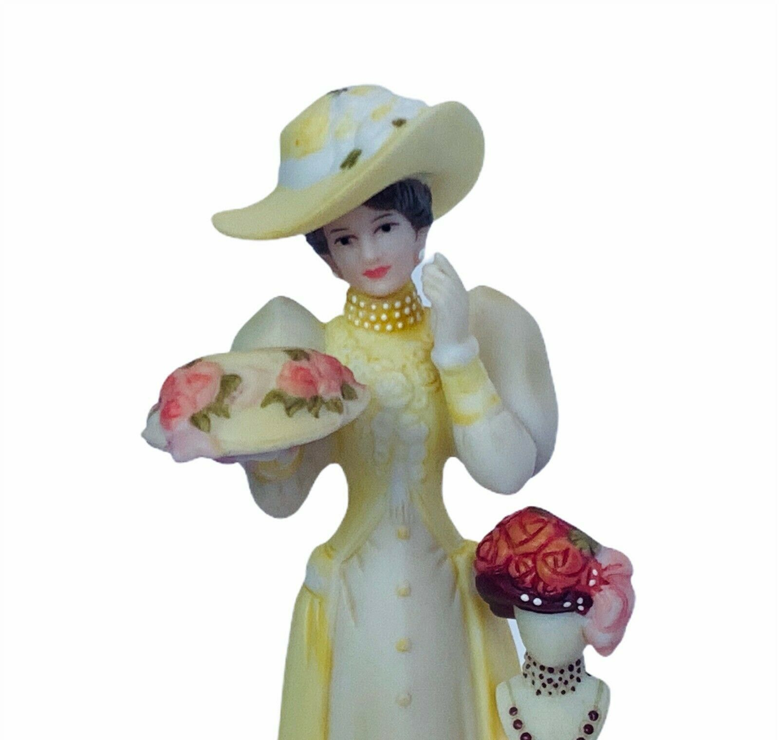 Avon glass dome figurine Mrs Albee porcelain collectible gift decor Hat lady vtg - $62.84
