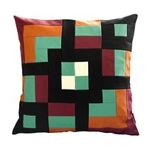 Black Temptation [Let's Play] Handmade Canvas Decorative Pillow Unique Grid Cush - $38.50