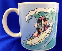 Disney Mickey Minnie Mouse Surf Japan Coffee Tea  Mug 10 Oz 1986 - $18.70