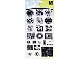 Inkadinkado-23 Pc Clear Stamp Set-Circle and Square Inchie- #60-30441