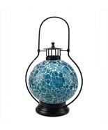 """Northlight 12"""" Aqua Blue White Mosaic Glass Tea Light Candle Holder Doom... - $27.22"""