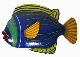 WorldBazzar Blue with Green Stripe Beautiful Unique Fish Metal Hanging Wall Art - $34.59
