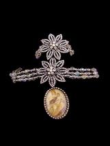 Vintage Madonna & Child Necklace / Star rhinestone bracelet / Crystal choker / P - $275.00