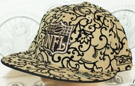 Reebok Nfl Football Logo Flat Bill Men's Hat Flocked Design Fitted 7 1/8 Cap New - $8.88