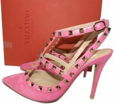 Valentino Garavani Rockstuds Pumps T-Strap Pink Suede Pointy Toe Shoes 36.5 - £455.63 GBP