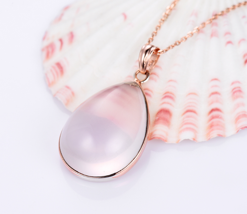 Buy Pink Color Natural Rose Quartz Necklace & Pendant For Women Water Drop Roman image 4