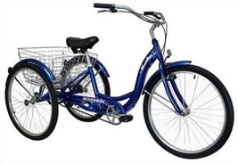 Meridian Full Size Adult Tricycle Bike Trike 26 Wheel Size Bicycle Blue NEW - $398.03
